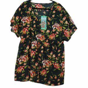 NWT Mario Serrani floral beach cover up